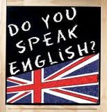 Parlate inglese sulla lavagna Fotografia Stock