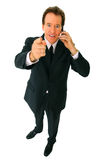 parler aîné de téléphone d'isolement par homme d'affaires Photos stock