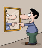 Parler au miroir images libres de droits
