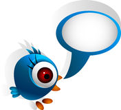Parler bleu mignon d'oiseau illustration stock