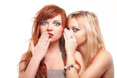 Parler d'amies du bavardage deux de société jeune Images libres de droits