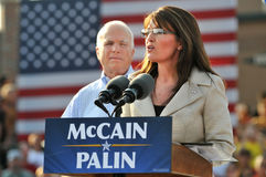 Parler de Sarah Palin Images libres de droits