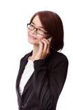 Parler de téléphone de femme d'affaires Photos libres de droits