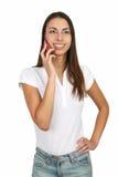 parler de téléphone de fille de cellules Photos stock