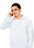 parler de téléphone portable d'homme Image stock