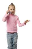 parler de téléphone portable de fille Photographie stock libre de droits