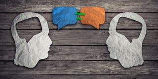 Parler ensemble le concept social d'échange d'idée de media illustration stock