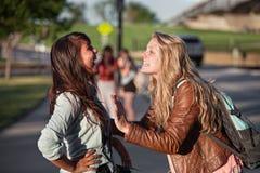 Parler Excited de deux étudiants Images libres de droits