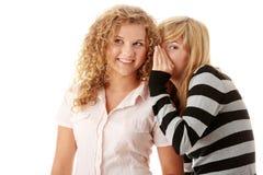 Parler heureux de deux jeune amies Photos libres de droits