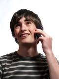 Parler par le téléphone portable Photos libres de droits