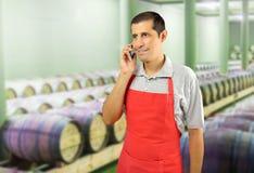 Parler professionnel de vin par le téléphone images stock