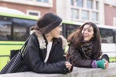 Parler riant d'amie de la femme deux Photo stock