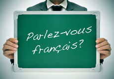 Parlez-vous francais? do you speak french? written in french Stock Photo