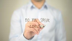 Parlez-vous italien ? , écriture d'homme sur l'écran transparent Photographie stock