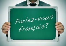 Parlez-Vousfrancais? spreekt u het Frans? geschreven in het Frans stock foto