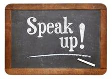 Parli sulla frase motivazionale sulla lavagna immagini stock libere da diritti