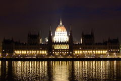 Parliament. Hungarian Parliament building in Budapest at night, photographed from across the Danube Stock Image