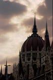 Parliament. The Pariament of Hungary under dark, stormy sky Royalty Free Stock Photos