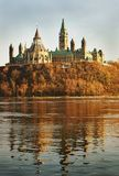 Parliament Across the River. Full view of the back of Ottawa's parliament buildings from across the Ottawa River Royalty Free Stock Photo
