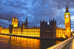 Parliament and Big Ben at night Royalty Free Stock Image
