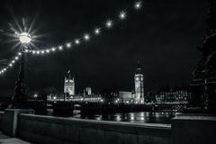 Parliament & Big Ben. The Parliament & Big Ben Under The Stars In A Starless Night Royalty Free Stock Image