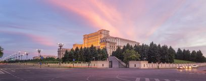 Parliament in Bucharest, Romania. Sunset at the Palace of the Parliament in Bucharest, Romania royalty free stock image