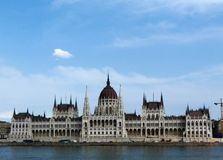 Parliament in Budapest from across the Danube. A panoramic view of the Budapest Parliament viewed from across the Danube river Stock Images