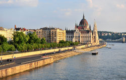 Parliament of Budapest city on sunset. Hungary Stock Photography