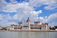 Parliament of Budapest with dramatic sky on background Stock Image