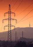 Electric wire tower Stock Photo