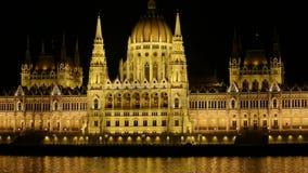 Parliament, Budapest, Hungary at night stock footage