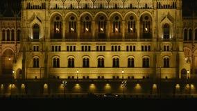 Parliament, Budapest, Hungary at night stock video