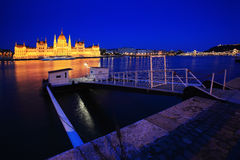 Parliament of Budapest, Hungary at night Stock Photos