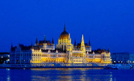 The Parliament in Budapest night with illumination. The building of the Parliament in Budapest, Hungary. The Hungarian Parliament in Budapest and Danube river at royalty free stock photos