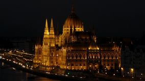 Parliament in Budapest in the Night. Time Lapse. Beautiful Action stock video