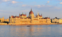 Parliament of Budapest on sunset, Hungary Royalty Free Stock Images