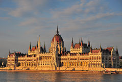 Parliament of Budapest on sunset Royalty Free Stock Photos