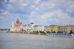 Parliament of Budapest and waterfront of Danube river Royalty Free Stock Photos