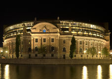 Parliament building. Stockholm parliament building at night Stock Photos