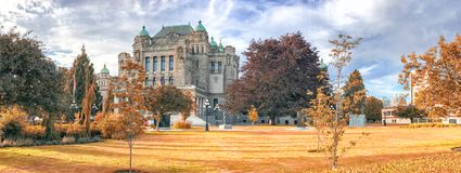 Parliament building on a beautiful autumn day, Victoria is the m Royalty Free Stock Images
