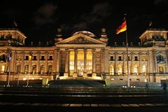 Parliament building of Berlin city at night Royalty Free Stock Photos