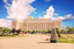 Parliament building, Bucuresti with blue sky and clouds. stock photo