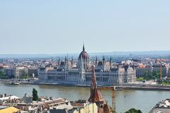 The Parliament building in Budapest as seen from across the Danube river stock photography