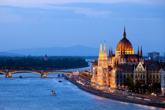 Parliament Building in Budapest at Evening Stock Image