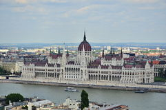 Parliament Building in Budapest, Hungary. BUDAPEST, HUNGARY - AUGUST 4, 2016 : Photograph of the Parliament Building in Budapest, Hungary taken from above stock image