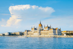 Parliament building in Budapest, Hungary on a bright sunny day Royalty Free Stock Photography