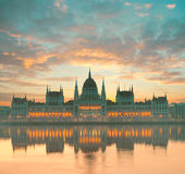 Parliament building in Budapest, Hungary, at dawn Stock Photo