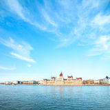 Parliament building in Budapest, Hungary on a sunny day Royalty Free Stock Images