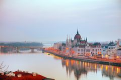 Parliament building in Budapest, Hungary. At sunrise stock image