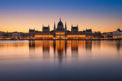 Parliament building in Budapest, Hungary. Sunrise at the Parliament building in Budapest, Hungary stock photography